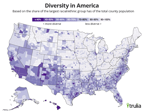 Finding Diversity in America - Trulia Research on census 2010 demographic profiles, china ethnic maps, census map charlotte, census 2012 data ethnic groups, united states ethnic group maps, ethnicities us maps,
