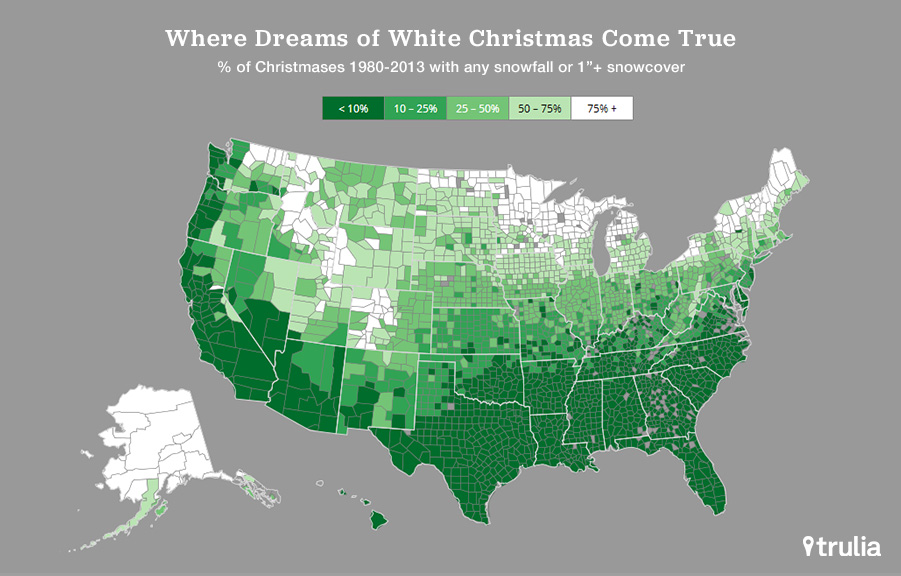 White Christmas Is Rare But At Least Its Affordable Trulias Blog - Whitest Plaaes In Us Map