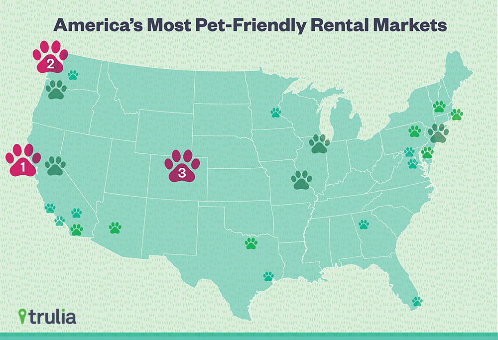 Americas Most Pawsome Rental Markets For Pet Owners Trulias Blog - Dog ownership us map