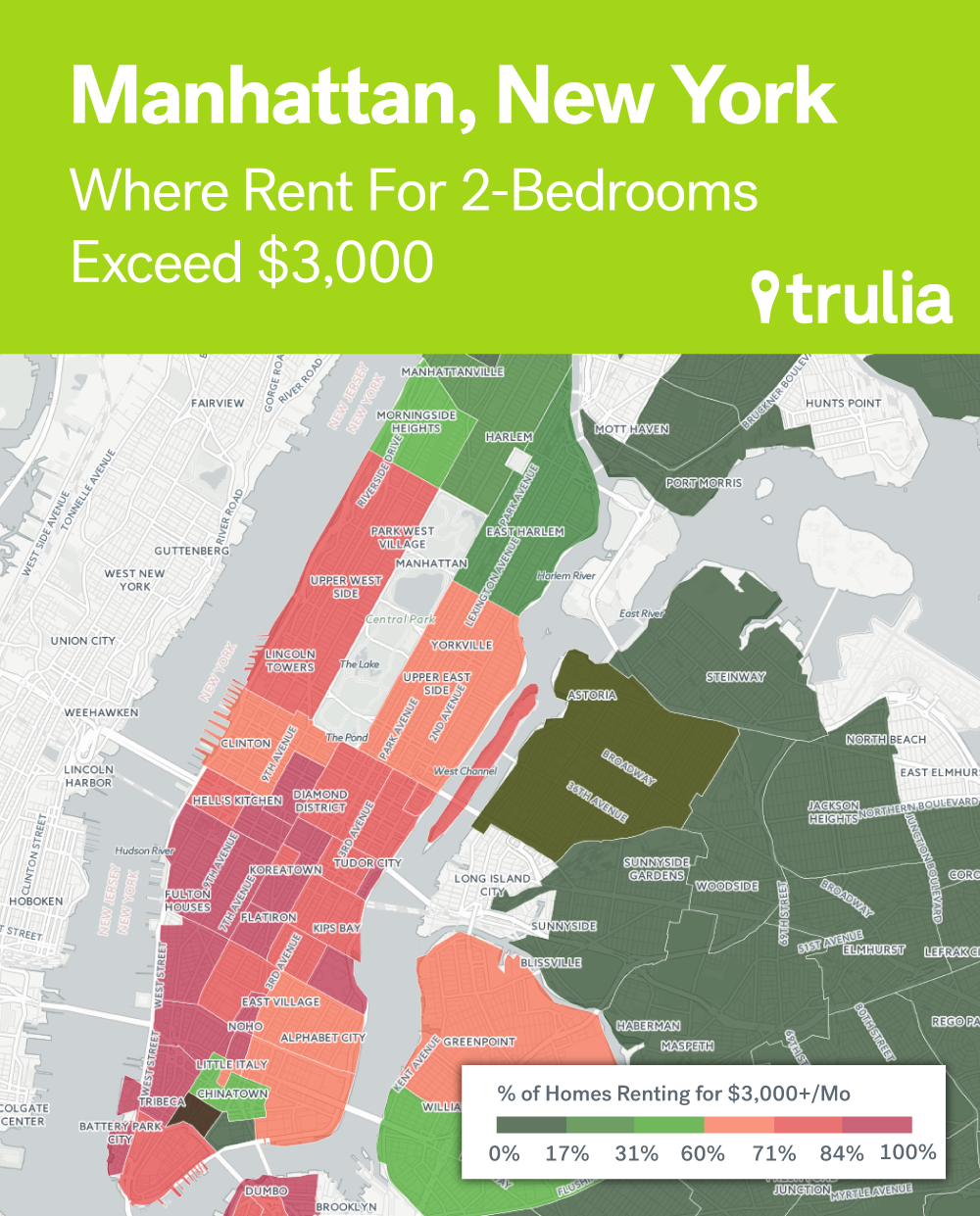 Manhattan Neighborhoods with the Most Expensive 2 Bedroom Rentals. Where Rents Are Too Damn High   Trulia s Blog